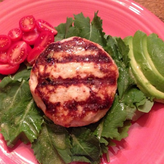 Gruyere Turkey Burger on Baby Kale with Dijion Vinaigrette