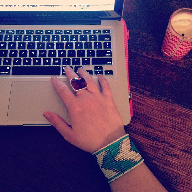 Writing whilst wearing new beaded cuff.