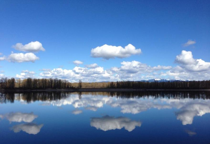 Reflections along the Columbia River.
