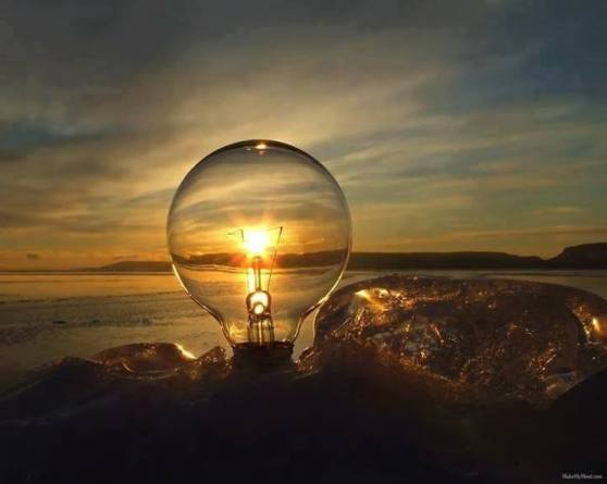 Light bulb sunset